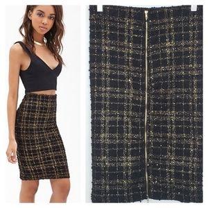 Forever 21 Metallic Tweed Pencil Skirt